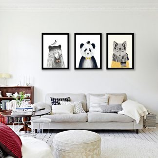 süße Leinwandbilder Tiere Bär Löwe Panda Wolf für Kinderzimmer