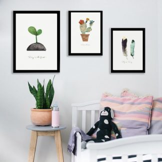 Leindwandbilder Natur Feder Hirsch Kaktus Kaninchen und Spross für Wohnzimmer und Kinderzimmer