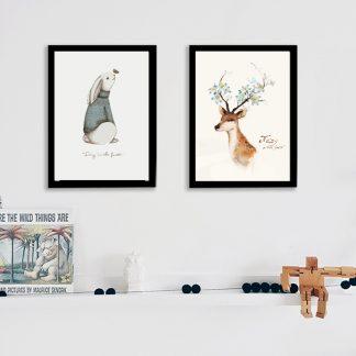 Leindwandbilder Tiere Kaninchen und Hirsch für Wohnzimmer Kinderzimmer