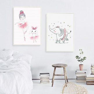 süße Leinwandbilder Ballerina und Elefant für Kinderzimmer