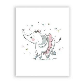 süße Leinwandbilder Elefant Rosa für Babyzimmer