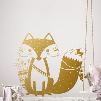 Wandaufkleber Fuchs für Kinderzimmer Gold