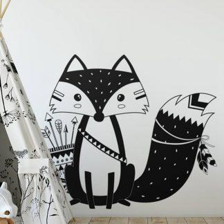süße Wandtattoo Fuchs für Kinderzimmer Schwarz