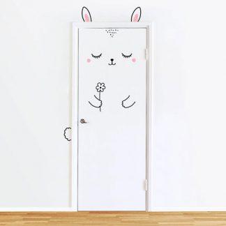 Wandtattoos Tür mit Kaninchen für Kinderzimmer