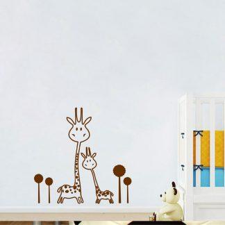 Süße Wandsticker Giraffe Tiere für Kinderzimmer Braun