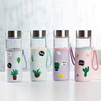 Kaktus Glasflasche mit Stoffhülle, Niedliche Flasche, süße Geschenkidee