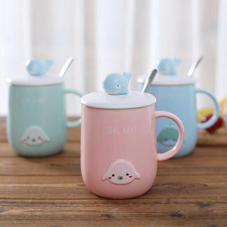 süße Tassen mit Deckel- Wale, Robben (Rosa, Blau, Grün, Weiß); Kawaii Shop Deutschland