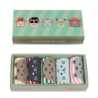süße Katze Socken für Damen und Katzenliebhaber, Kawaii Shop, niedliche Geschenkbox, monkimonk