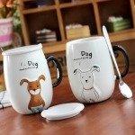 Tasse Hund mit Deckeln und Löffeln, süße Hundetassen für Hundeliebhaber
