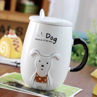 süße 3d Tassen Hund, Kawaii Hundetassen, Red Polka Shirt, besondere Geschenke für Hundebesitzer