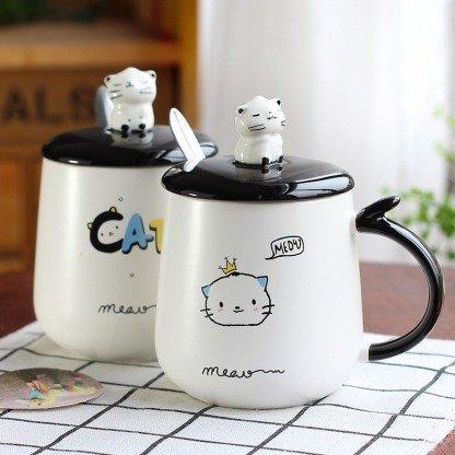niedliche Tasse mit Deckel, süße Katzen, Katzentassen