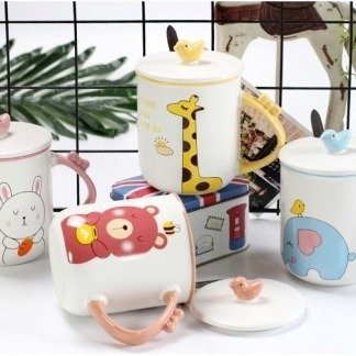 süße Tassen Tiere Bär Elefant Giraffe Kaninchen, Korean Style Kawaii Shop