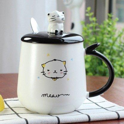 süße Tassen Katzen, Katzentassen mit Deckel, Koreanischer Stil, Kawaii Shop Deutschland, Katzenliebhaber