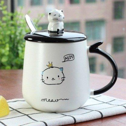 Katzentassen, süße Tassen mit Deckel, Koreanischer Still, Kawaii Geschenke, Katzenliebhaber