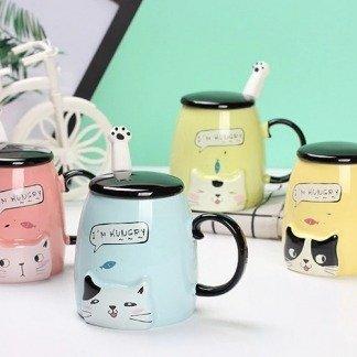 süßes Tassenset, Katzentassen mit Deckel, coole Geschenkidee, spezielle Geschenke für Katzenliebhaber