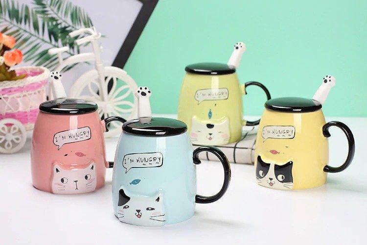 1dd99c0fa72 süßes Tassenset, Katzentassen mit Deckel, coole Geschenkidee, spezielle  Geschenke für Katzenliebhaber