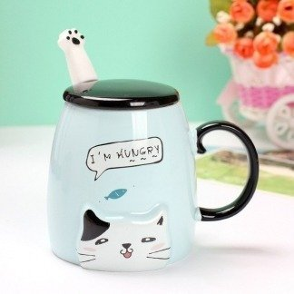 lustige Tassen mit Deckel, süße Katzen, Katzentassen Blau