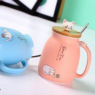 Süße Katzen Kaffeetassen, niedliche Tassen Katze mit Bambusdeckel, Blau, süße Geschenkidee, Geschenkidee Freundin, ausgefallene Geschenke, Kawaii Shop, Japanese and Korean Style, Katzentassen, Katzenliebhaber