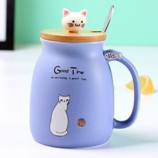 süße Tassen Katze mit Bambusdeckel, Blau, süße Geschenkidee, Geschenkidee Freundin, ausgefallene Geschenke, Kawaii Shop, Japanese Style, Katzenliebhaber