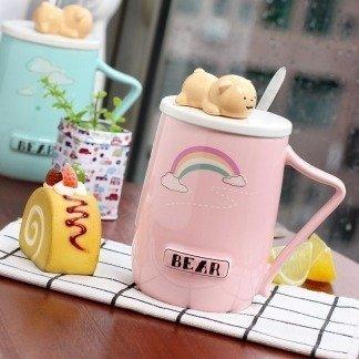 Kawaii Tassen mit Bären, niedliche Tassen Bär, Bärentassen mit Deckel, Regenbogen, besondere Geschenkidee für Freundin, koreanischer Stil