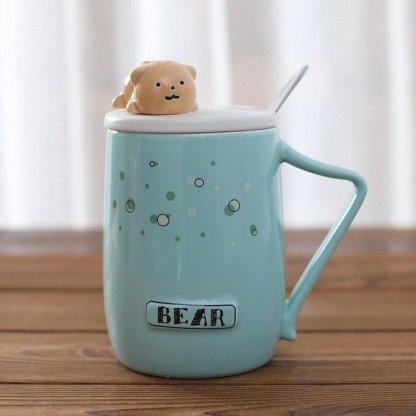 süße Tassen Bär, Blau,Bärentassen mit Deckel und Löffel, ausgefallene Geschenke, süße Geschenkidee für Freundin, Korean Style
