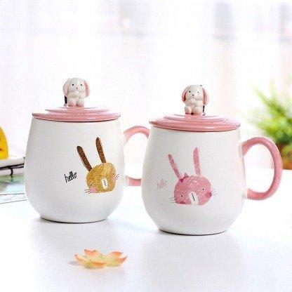 süße Tassen mit Tiermotiv, Kaninchentassen mit Deckel Braun und Rosa, Geschenkidee, ausgefallene Geschenke, Koreanischer Stil