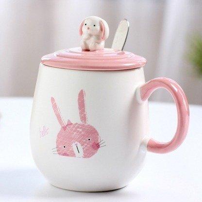 süße Kaninchentassen, Hase Tasse Rosa, kawaii Tassen mit Deckel, Kaninchen, Rosa, Geschenkidee, besondere Geschenke für Freundin