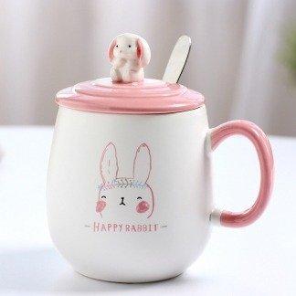 süße Kaninchentassen, niedliche Tassen mit Deckel und Löffel, Kaninchen, Rosa und Weiß, Geschenkidee, ausgefallene Geschenke für Freundin