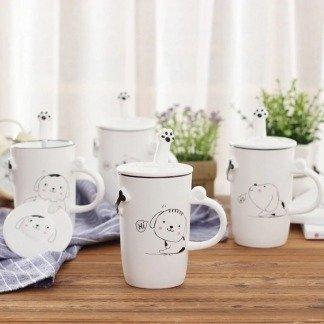 lustiges Tassenset für Hundeliebhaber, niedliche Tassen Hund mit Deckeln und Löffeln, Koreanischer Stil, besondere Geschenkidee