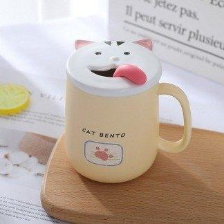 süße Tassen Katze mit Deckel, Pastellgelb, süße Geschenkidee, Geschenkidee Freundin, besondere Geschenke, Kawaii Shop, Koreanischer Stil