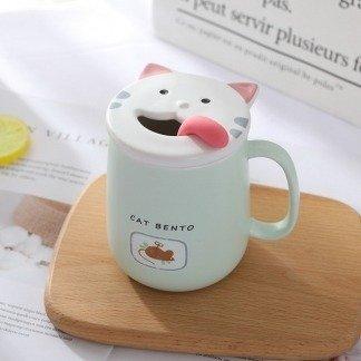 süße Tassen Katze mit Deckel, Pastellgrün, süße Geschenkidee, Geschenkidee Freundin, besondere Geschenke, Kawaii Shop Deutschland, Koreanischer Stil