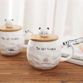 Katzenliebhaber Tassen, Kawaii Tassen mit Deckel, Katzentasse, süßes Tassenset, Japan Style