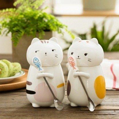 süße Tassen Katze mit Deckel, süße Geschenkidee, Geschenkidee Freundin, ausgefallene Geschenke, Japanischer Stil