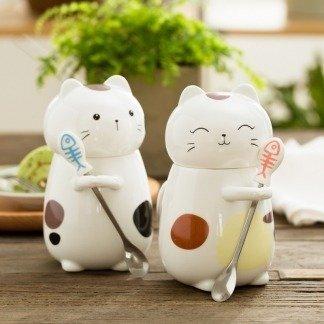 Kawaii Tassen Katze mit Deckel,süße Geschenkidee, besondere Geschenke, Japanese Style