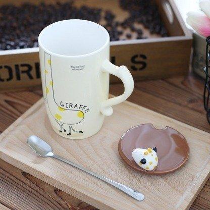 süße Tassen Giraffe mit Deckel, Pastellgelb, Geschenkidee, Kawaii Tassen