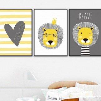 süßes Wandbilder-Set mit Löwen, Gelb