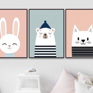 süße Wandbilder Kaninchen, Bär, Katze, schwarz weiß gestreift