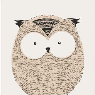 Metall Poster süße Eule- Metall Poster sweet owl