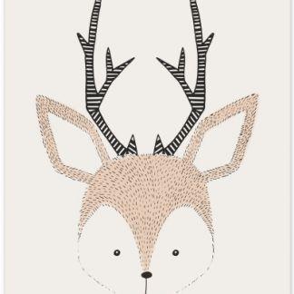 """Metall Poster """"Sweet Deer""""- süßer Hirsch"""