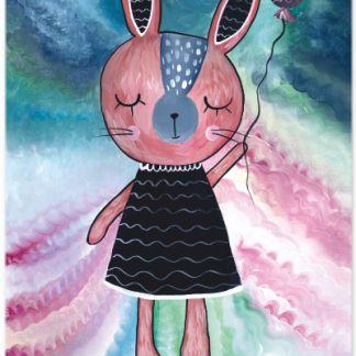 Metall Poster süßes Kaninchen- Dreaming Rabbit Ballon