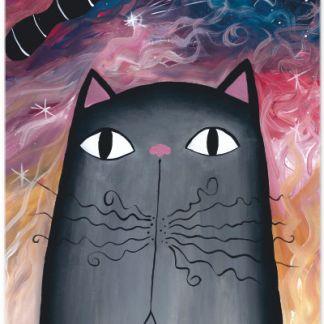 Metall Poster süße schwarze Katze- Dreaming Cat