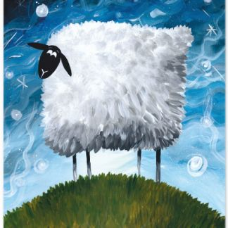 Metall Poster süßes Schaf- Dreaming Sheep Sea