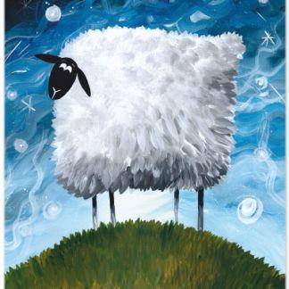 Metall Poster süßes Schaf- Dreaming Sheep Sea