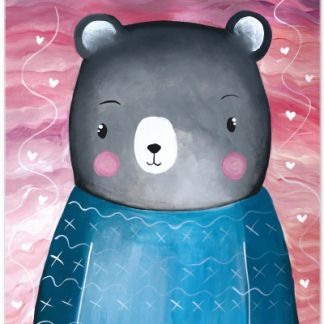 Metall Poster süßer Bär- Dreaming Bear Sea