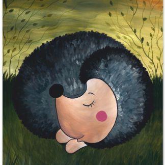 Metall Poster süßer Igel- Dreaming Hedgehog