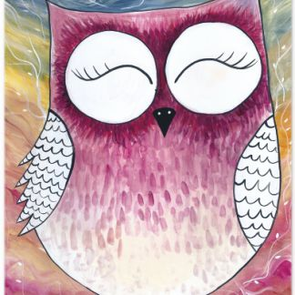 "Metall Poster süße Eule ""Owl Dream Land"""