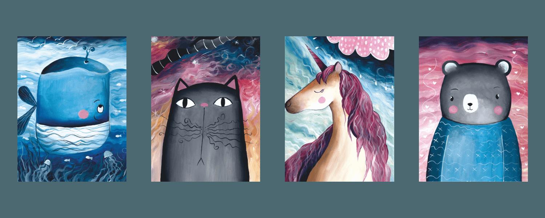 Metall Poster süßer Bär, Einhorn,Wal und niedliche Katze,