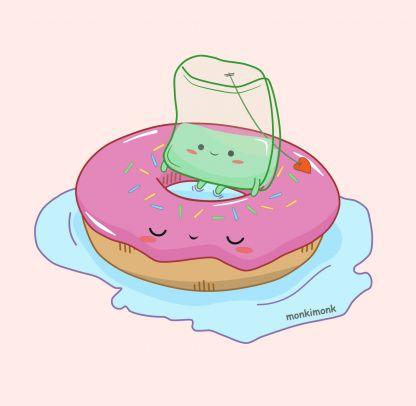 süßer Teebeutel auf einem Donut, Teabag, Kawaii Shop Deutschland