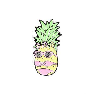 Cool Pineapple with Sunglass in Bikini Enamel Pin