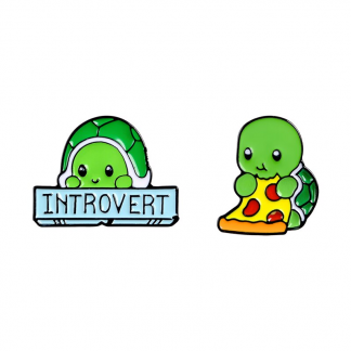 MM-EP-3013 Introvert Green Turtle with Pizza Enamel Pin